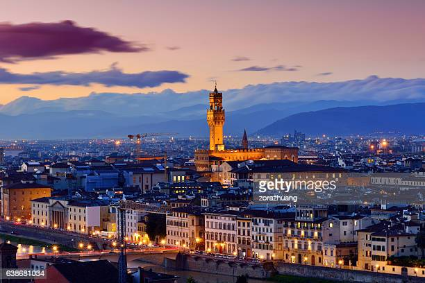 florence cityscape at sunset - florence italy foto e immagini stock