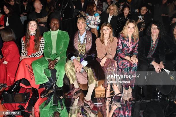 Florence Clementine Benjamin Clementine Ghali Benedetta Porcaroli Carolina Crescentini and Francesco Motta attend the Gucci show during Milan Fashion...