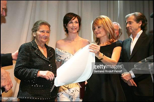 Florence De Botton, Simone Veil and Elsa Zylberstein at The Gala Scopus Award 2007 Organised By L' Universite Hebraique De Jerusalem At Palais...