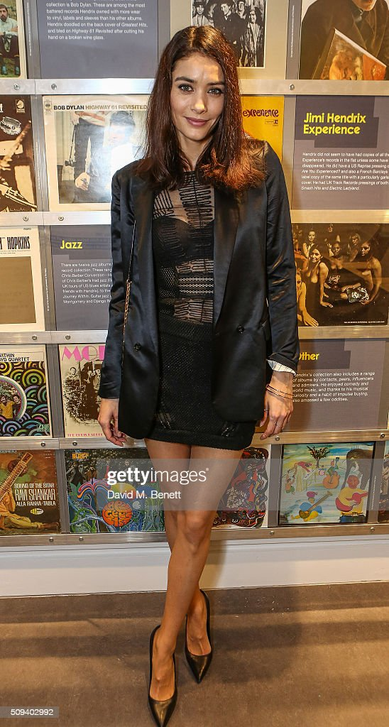 Florence Eugene attends a private view of 'Hendrix At Home' at Jimi Hendrix's restored former Mayfair flat on February 9, 2016 in London, England.
