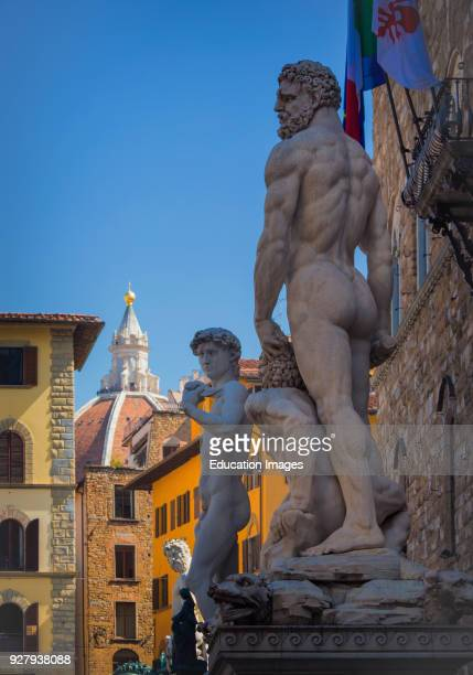 Florence, Florence Province, Tuscany, Italy, Statues in front of the Palazzo Vecchio, Baccio Bandinelli's Hercules and Cacus, copy of Michelangelo's...