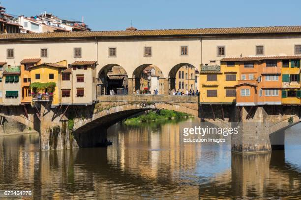 Florence Florence Province Tuscany Italy The medieval Ponte Vecchio or Old Bridge on the Arno River