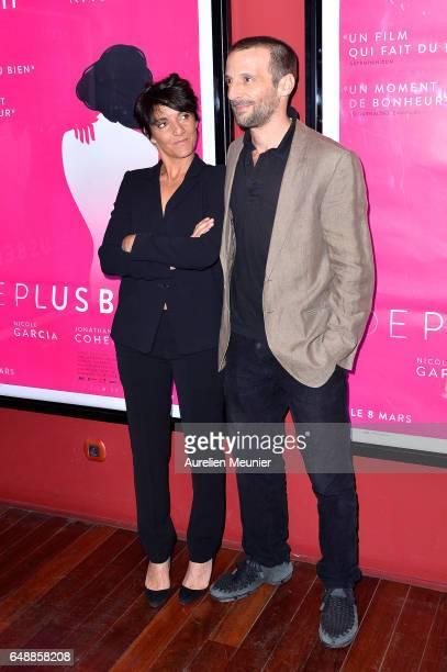 Florence Foresti and Mathieu Kassovitz attend the 'De Plus Belle' Paris premiere at Publicis Champs Elysees on March 6 2017 in Paris France