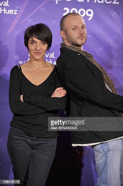 Florence Foresti and Pierre Francois Martin for the presentation of the movie King Guillaume in Alpe Huez France on January 20 2009