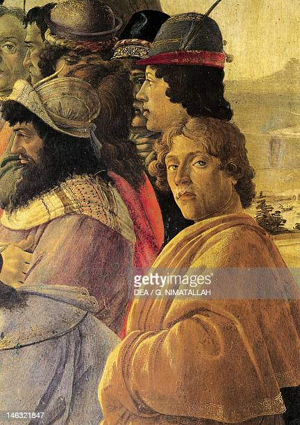 Florence Galleria Degli Uffizi Adoration of the Magi by Sandro Botticelli tempera on wood 111x134 cm Detail depicting a selfportrait of the author