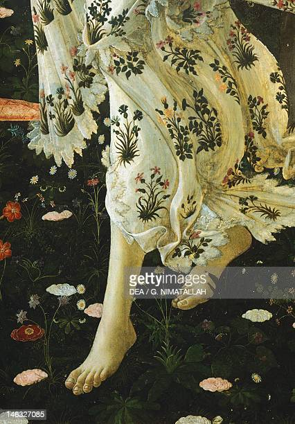 Florence Galleria Degli Uffizi Allegory of Spring ca 14771490 by Sandro Botticelli tempera on wood 203x314 cm Detail