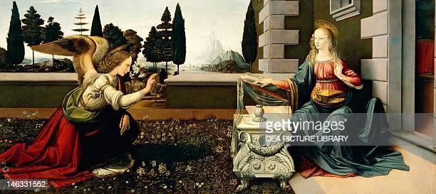 Florence Galleria Degli Uffizi Annunciation 14721475 by Leonardo da Vinci oil and tempera on panel 98x217 cm