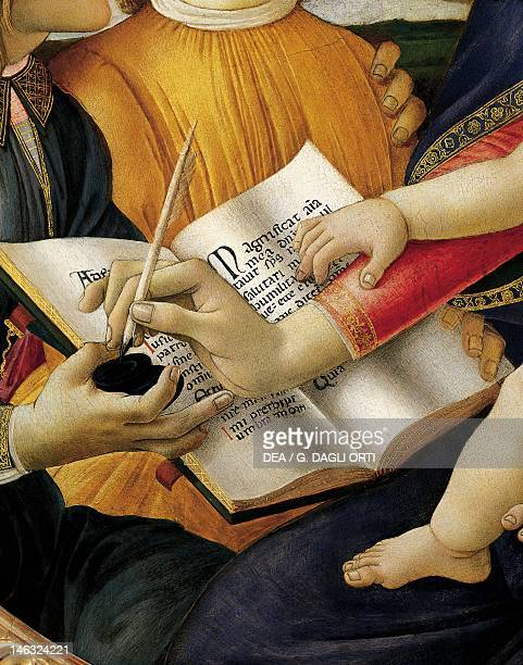 Florence Galleria Degli Uffizi Book and the act of writing detail from Madonna and Child with angels or The Madonna of the Magnificat 14801489 by...