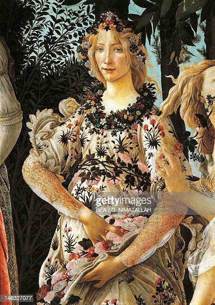 Florence Galleria Degli Uffizi Depiction of Flora detail of the allegory of spring ca 14771490 by Sandro Botticelli tempera on wood 203x314 cm