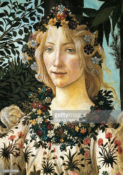 Florence Galleria Degli Uffizi Figure of Flora detail of the allegory of spring ca 14771490 by Sandro Botticelli tempera on wood 203x314 cm