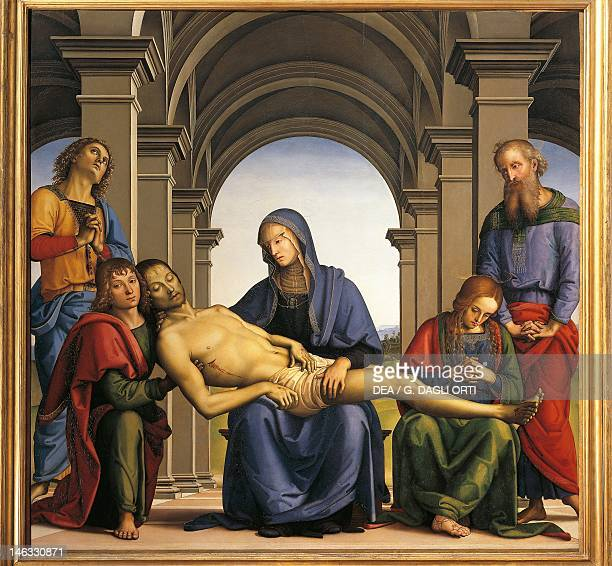 Florence Galleria Degli Uffizi Pieta 14931494 by Pietro Perugino oil on panel