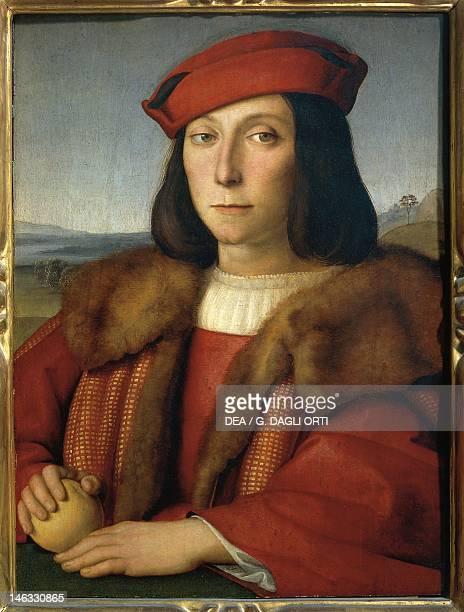 Florence Galleria Degli Uffizi Portrait of young man with an apple or Portrait of Francesco Maria della Rovere 1505 ca by Raphael Sanzio oil on wood...