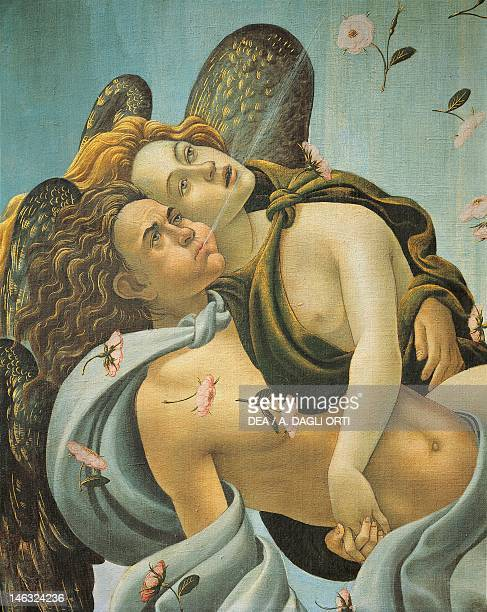 Florence Galleria Degli Uffizi Representation of the wind detail from The Birth of Venus by Sandro Botticelli tempera on canvas 1725 cm x278 5
