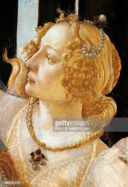 Florence Galleria Degli Uffizi Spring ca 1482 Sandro Botticelli tempera on wood 203x314 cm Detail depicting Grace