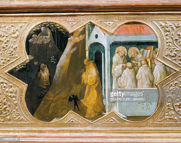 Florence Galleria Degli Uffizi St Benedict tempted by the devil founding his palace detail of the predella of the Coronation of the Virgin by Lorenzo...