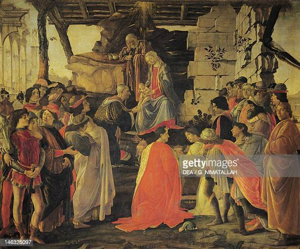 Florence Galleria Degli Uffizi The Adoration of the Magi ca 1475 by Sandro Botticelli tempera on wood 111x134 cm