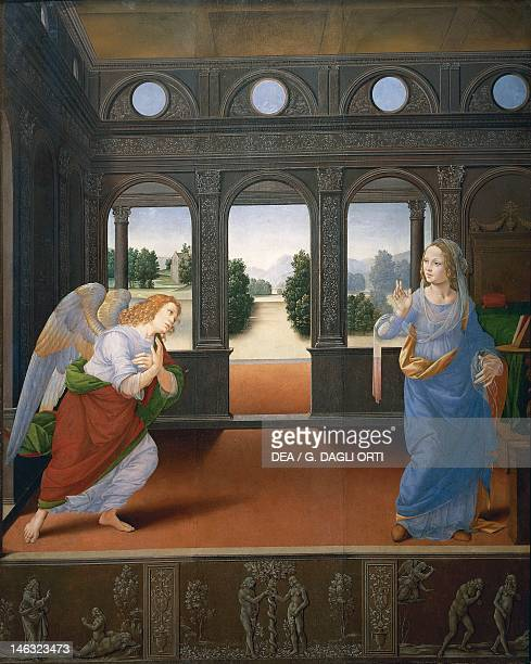 Florence Galleria Degli Uffizi The Annunciation with the creation of Eve original sin Adam and Eve being expelled from Paradise by Lorenzo di Credi...