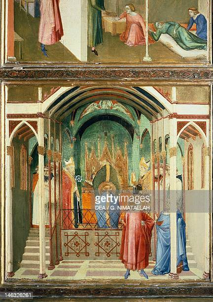 Florence Galleria Degli Uffizi The consecration of St Nicholas as Bishop of Myra detail from the Miracles of St Nicholas of Bari 13271332 by Ambrogio...