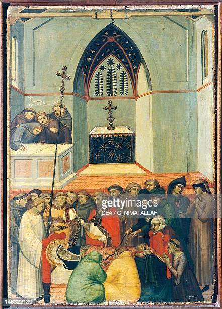 Florence Galleria Degli Uffizi The exhumed body of the blessed is found intact and fresh tile on altarpiece of the Blessed Humility by Pietro...
