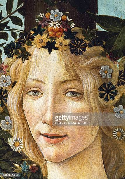 Florence Galleria Degli Uffizi The face of Flora detail of the allegory of spring ca 14771490 by Sandro Botticelli tempera on wood 203x314 cm