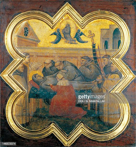 Florence Galleria Dell'Accademia Death of St Francis 13301340 by Taddeo Gaddi Tile from a cupboard in the sacristy of the Basilica of Santa Croce...