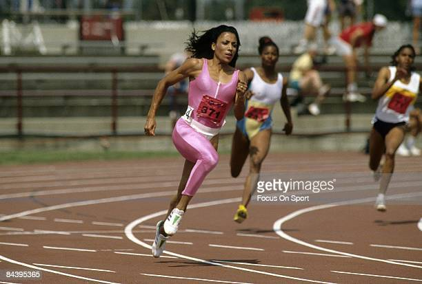 Florence Griffith Joyner competes during the 200m at the 1988 US Track and Field Olympic Trials in Indianapolis Indiana