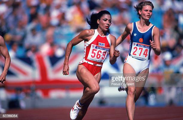 Florence Griffith Joyner competes in the women's track events during the 1988 Summer Olympics XXIV games in Seoul