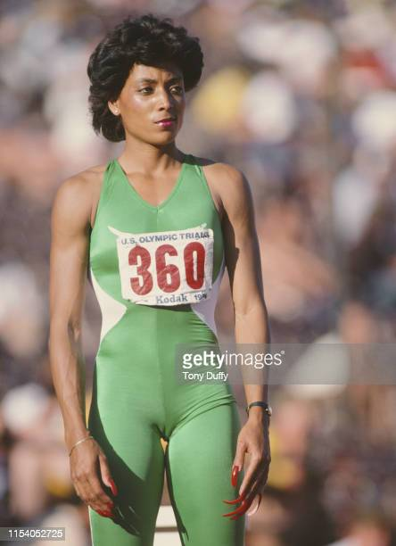 Florence Griffith Joyner of the United States prepares for the Women's 200m metres event at the United States Olympic Trials on 20 June 1984 at the...
