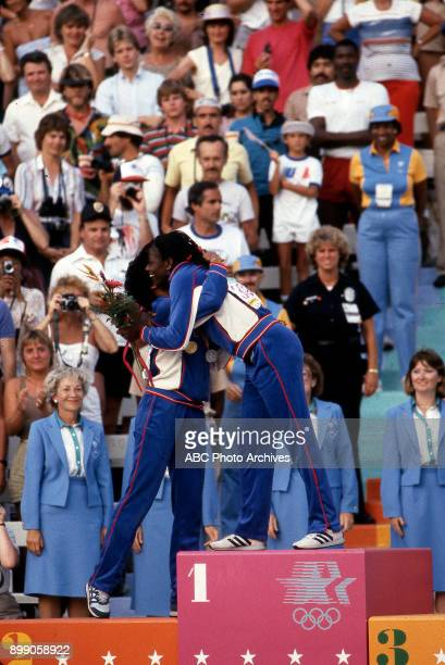 Florence Griffith Joyner Valerie BriscoHooks Women's 200 Meter medal ceremony Memorial Coliseum at the 1984 Summer Olympics August 8 1984