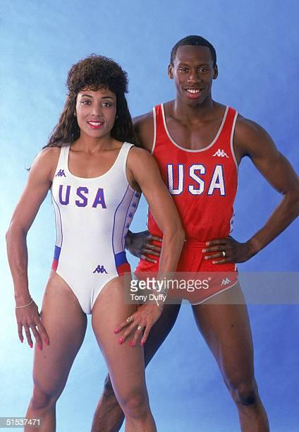 Florence Griffith Joyner with her husband Al Joyner pose for a portrait in 1987