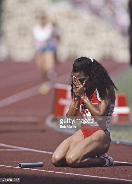 Florence GriffithJoyner of the United States celebrates second place and the silver medal in the Women's 4 x 400metres final event during the XXIV...