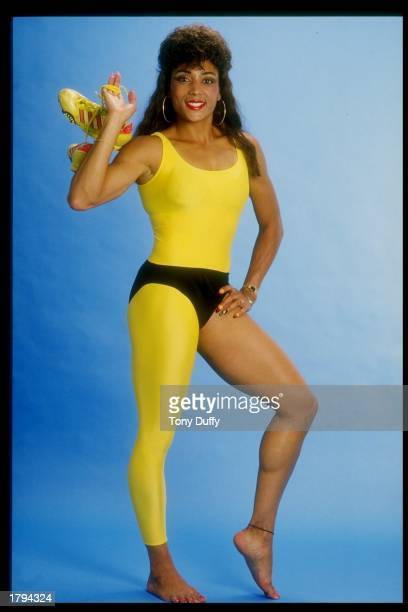 Florence GriffithJoyner poses for a picture Mandatory Credit Tony Duffy /Allsport