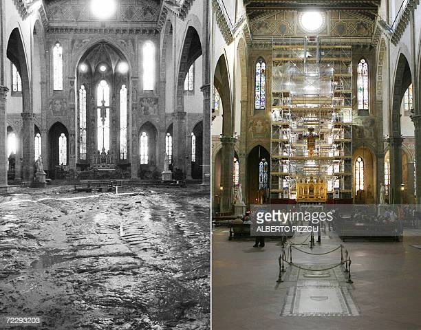 A combo shows the church of Santa Croce in Florence after the flood 04 November 1966 and the same church 27 October 2006 The floodwaters from the...