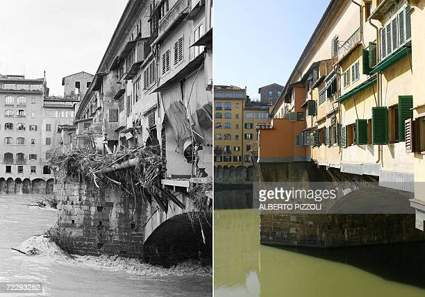 A combo shows the Ponte Vecchio in Florence during the flood 04 November 1966 and the same view 27 Octobre 2006 The floodwaters from the Arno River...