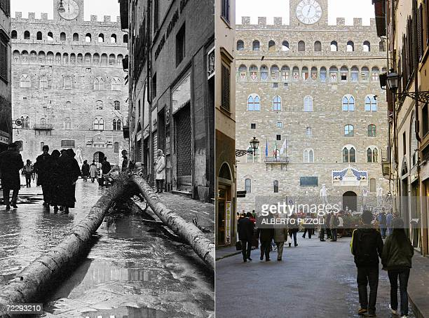 A combo shows the street called Vacchereccia runing into the Palazzo Vecchio in Florence after the flood 04 November 1966 and the same street 27...