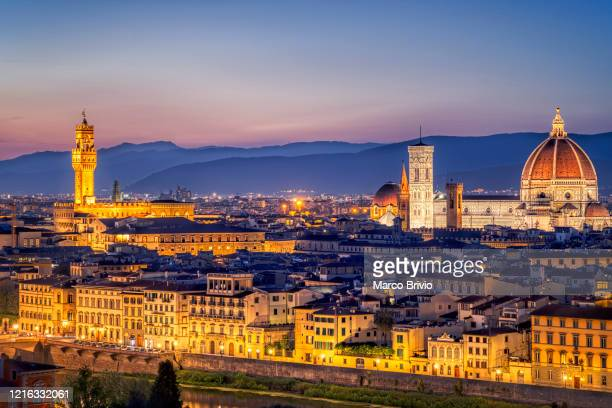 florence italy. high angle view of the city at dusk - marco brivio stock pictures, royalty-free photos & images