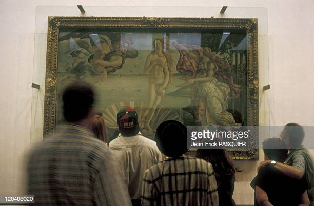 Florence Italy In 1996 The Uffizi galleryVisitors watching the famous Botticeli painting 'the birth of Venus'