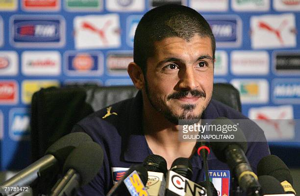 Italian midfielder Gennaro Gattuso answers journalists' questions at the National Technical Center of Coverciano in Florence, 04 September 2006....