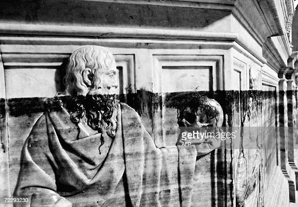 Picture of a mark of the maximum level reached by the flood in the Coro di Baccio Bandinelli in Florence after the flood 04 November 1966 The...