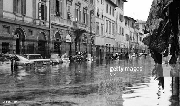 Picture of a street in Gavinana area in Florence after the flood 04 November 1966 The floodwaters from the Arno River swept through the city and...
