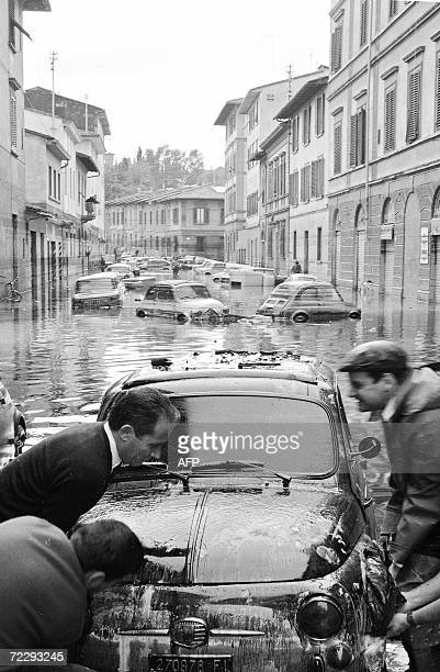 Picture of a street in the Gavinana area in Florence after the flood 04 November 1966 The floodwaters from the Arno River swept through the city and...