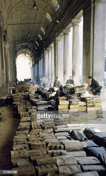 Picture of the arcades of the Uffizi in Florence after the flood 04 November 1966 The floodwaters from the Arno River swept through the city and...