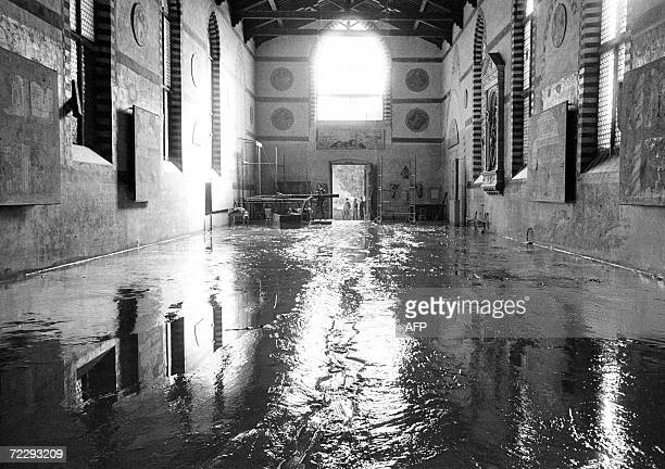 Picture of the Museum of Santa Croce in Florence after the flood 04 November 1966 The floodwaters from the Arno River swept through the city and...