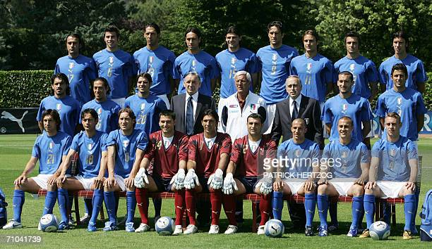 The Italian football team poses for the official picture at the National Technical Center of Coverciano in Florence 25 May 2006 Italy prepares for...