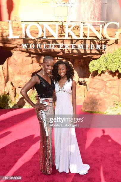 Florence Kasumba and Shahadi Wright Joseph attend the World Premiere of Disney's THE LION KING at the Dolby Theatre on July 09 2019 in Hollywood...
