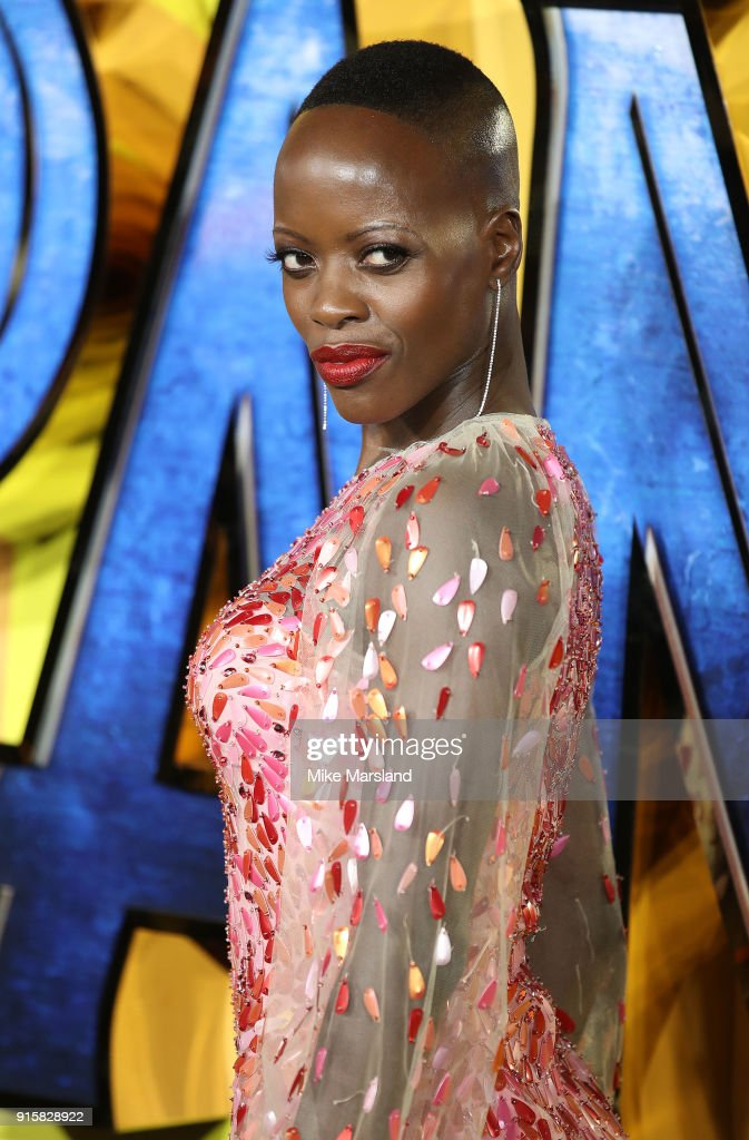 Florence Kasumba attends the European Premiere of 'Black Panther' at Eventim Apollo on February 8, 2018 in London, England.