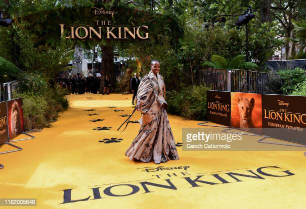 """Florence Kasumba attends the European Premiere of Disney's """"The Lion King"""" at Odeon Luxe Leicester Square on July 14, 2019 in London, England."""