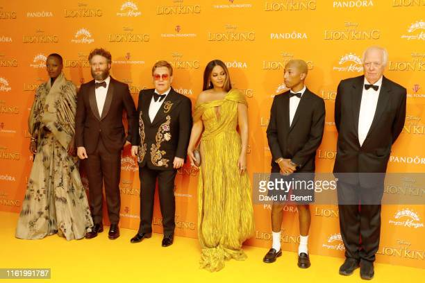 Florence Kasumba Seth Rogen Elton John Beyonce Pharrell WIlliams and Tim Rice attend the European Premiere of The Lion King at Odeon Luxe Leicester...