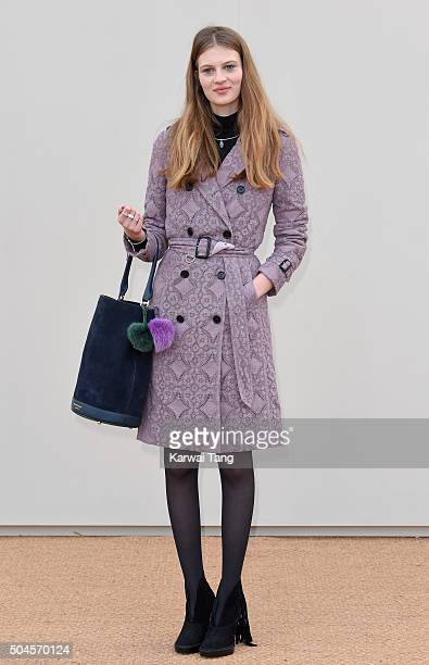 Florence Kosky attends the Burberry show during The London Collections Men AW16 at Kensington Gardens on January 11 2016 in London England