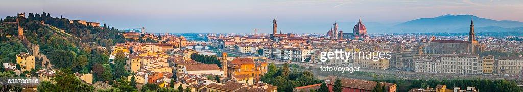 Florence landmark sunrise panorama Duomo villas spires cityscape Tuscany Italy : Stock Photo